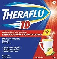 Theraflu TD, Auxiliar en el alivio de los síntomas del resfriado común, sabor limon, 10 Sobres, Rojo