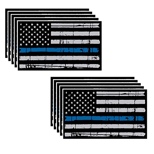 (10 Pack of Tattered Flag Thin Blue Line Police Officer BLM American Distressed Vinyl Decal Blue Lives Matter Sticker Car Truck 3