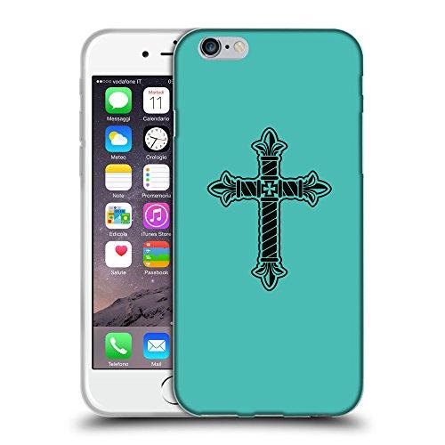 "GoGoMobile Coque de Protection TPU Silicone Case pour // Q07960634 Christian Cross 21 Turquoise // Apple iPhone 6 PLUS 5.5"""