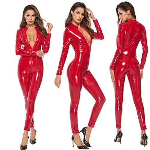 (Women Gifts,Sexy Woman Lingerie Leather Bodysuit Clubwear Uniform Allure Night Carnival Dancing (Red,)