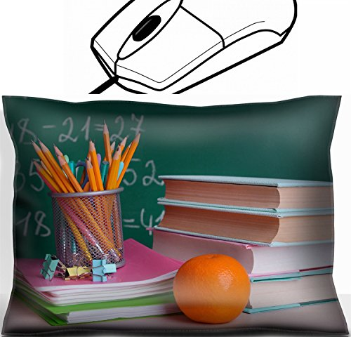 MSD Mouse Wrist Rest Office Decor Wrist Supporter Pillow design: 32904059 School supplies on table on board background by MSD