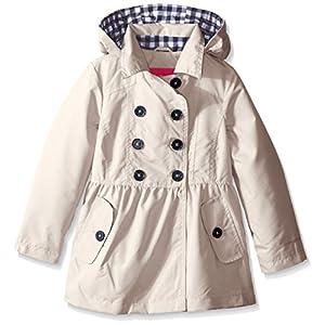 London Fog Big Girls Brushed Poly Trench Coat, Khaki, 14/16