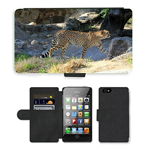 Just Phone Cases PU Leather Flip Custodia Protettiva Case Cover per // M00128864 Cheetah Predator africaine Marcher // Apple iPhone 4 4S 4G
