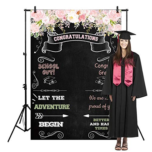 Allenjoy 5x7ft Congratulate Graduation Backdrop Class of Congrats Grad Floral Chalkboard for College Prom Pictures Candy Table Dessert Party Ceremony Decor Banner Event Photo Booth Shoot Background (Best College Graduation Speeches Of All Time)