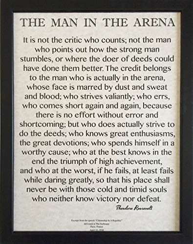 Desiderata Gallery Brand, Wood Framed Words of Wisdom by Theodore Roosevelt on Archival Parchment-Signature Collection - The Man in The Arena 11x14