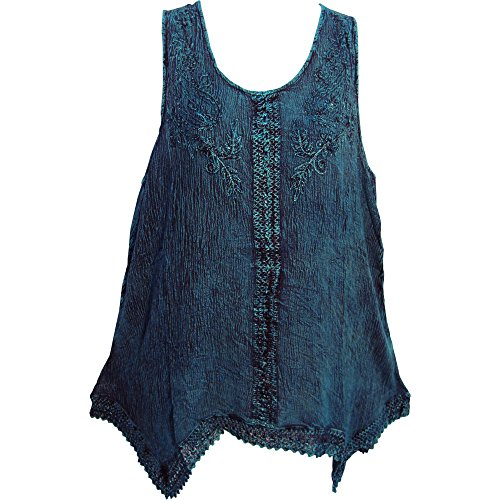 ohemian Marble Wash Embroidered Cotton Sleeveless Cami Blouse Top (Regular, Blue) (Hippie Tunic Blouse)