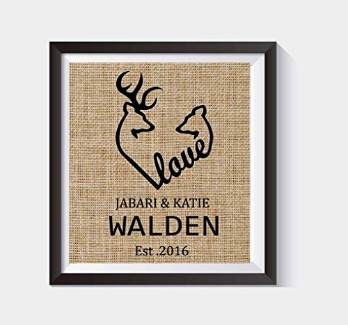 Browning Deer Heart Sign Wedding Gift Housewarming Gift Buck Art Doe Hunter Camo Decor Personalized Deer Hunting Deer Wall Art Burlap Print Custom #B_PRINT_46 (Camouflage Decor Home)