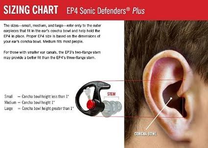 SureFire EP4 Sonic Defenders Plus Filtered Earplugs Triple Flanged Design Reusable