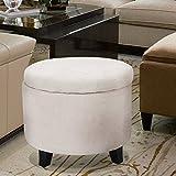 Homebeez Round Tufted Ottoman Microfiber Storage Footstool (Beige)