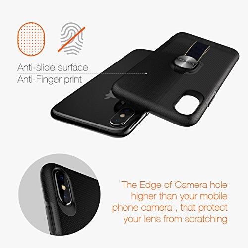 iPhone X Case with Finger Straps & Ring Holder Kickstand, Slim Fit Magnetic Rugged Cover with Grips Loop for Apple iPhone X/10, Support Magnetic Car Mount and Wireless Charging (Black) by LAVAVIK (Image #8)