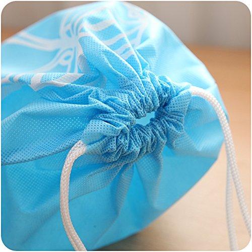 YUMMAYEE 10 Pcs Dust-proof Shoe Bags Drawstring with Window Travel Shoe Storage Bags Shoes Organizer Light Blue by YUMMAYEE (Image #8)