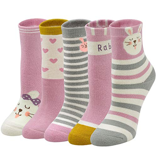 ZAKASA Kids Crew Socks Baby Girls Cute Funny Novelty Cotton Sock Animal Cartoon Unicorn Dog Cat Rabbit(5pairs,S-XL,2-11Y)