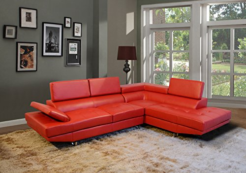 Golden Coast Furniture 2 PC Simple Bonded Leather Sofa Sectional Sets (With Multiple Colors) (Red)
