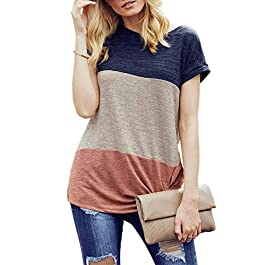 Women's Short Sleeve Color Block Loose Fit  T-shirt Tunic