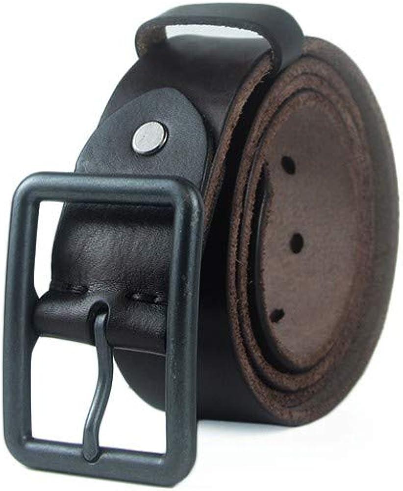 H-M-STUDIO MenS Belt Leather Pin Buckle Belt Youth Pure Leather Jeans Belt Casual Middle-Aged MenS Belt Black 95Cm