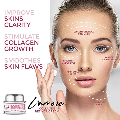 51FNOhHl6DL - L'amore Beauty Collagen Retinol Cream (30mL) Anti-Aging Day and Night Facial | Age Defying Skincare Firms and Lifts Wrinkles, Fine Lines | Hydrating Face, Neck, Décolleté Moisturizer