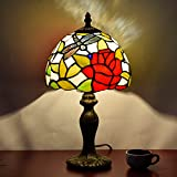 Tiffany Style Table Lamp, MKLOT Ecopower Lighting Dragonfly Flower 8-Inch Wide Glass Shade 8T27R030# Retro Art Table Lamp Light with 1-Light