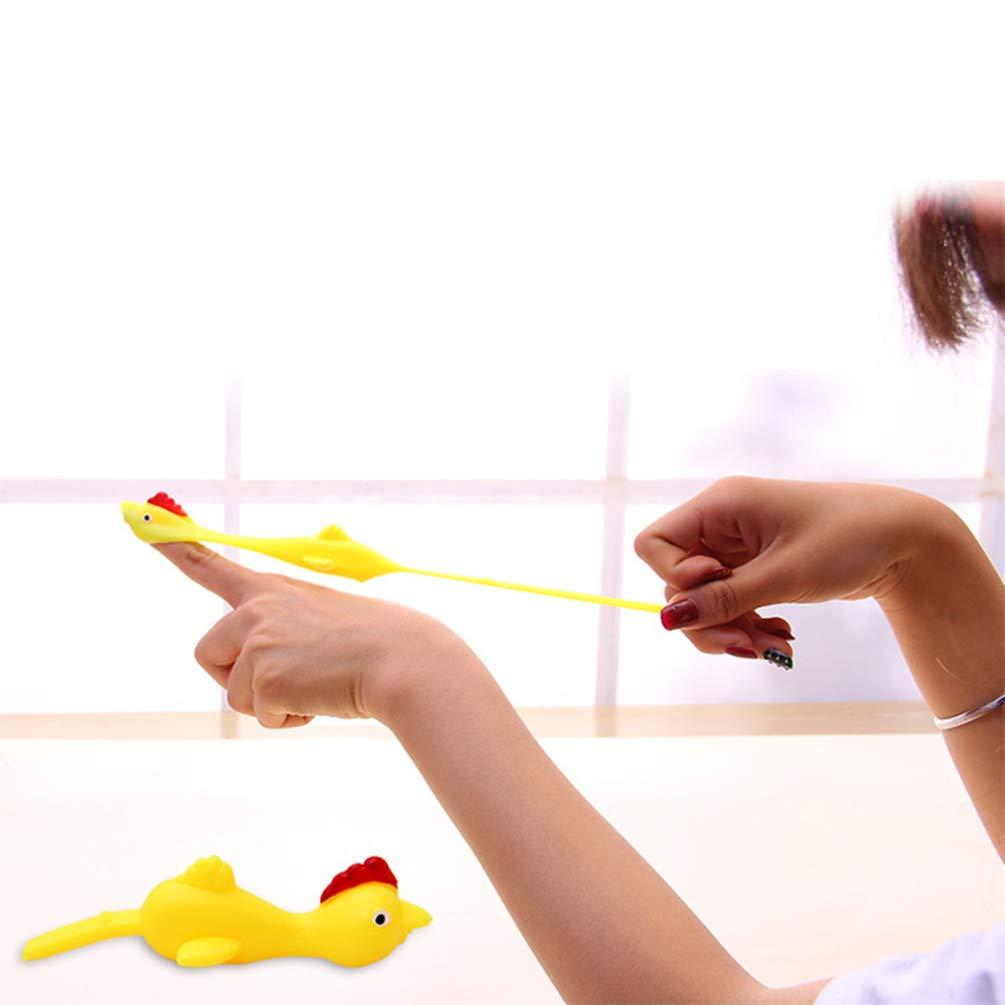orange STOBOK 10 st/ücke Slingshot Chicken Spielzeug Gummi Chicken Flick Chicken Flying Chicken flingers Stretchy Ostern Spielzeug f/ür Kinder