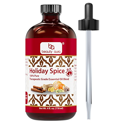 - Beauty Aura Holiday Spice 100% Pure Therapeutic Grade Essential Oil Blend-4floz