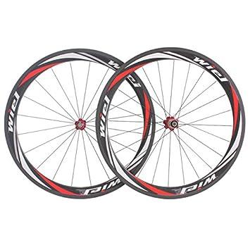 Wiel carretera bicicleta rueda conjunto de fibra de carbono 700C * 20mm 50mm profundo Clincher ruedas R50c rojo blanco: Amazon.es: Deportes y aire libre