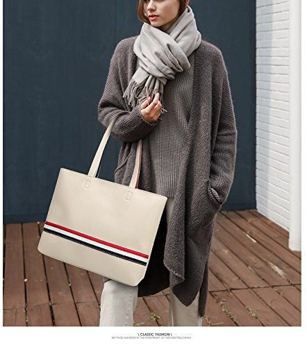 color Bag Capacity Large White Size Travel Woman Tote Great For Brown Wallet Tote Leather One Oudan Crossbody Vintage Size nxOqEwS8wd