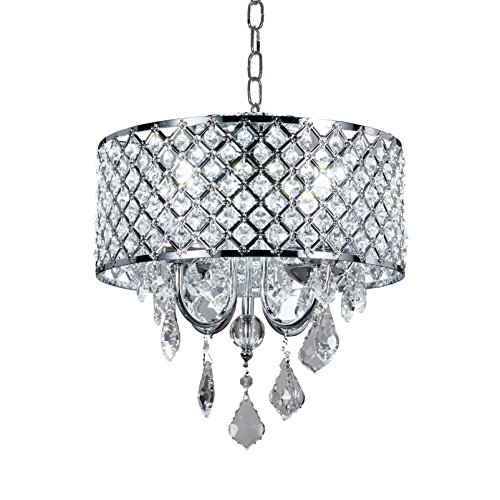 Diamond Life 4-Light Chrome Round Metal Shade Crystal Chandelier Pendant Hanging Ceiling Fixture -
