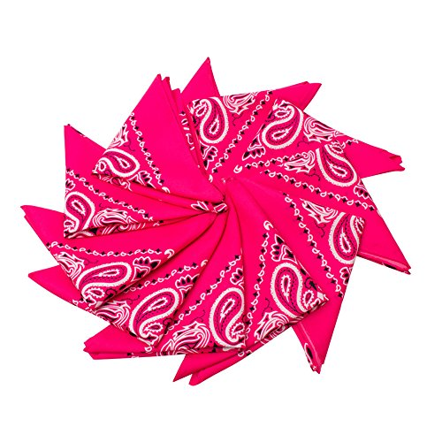 Fun Central AU201 12 Piece 21 Inch Pink Bandana, Girls Cowboy Bandana, Neon Pink Bandanas - Perfect for Christmas, Birthday, Cowboy Themed Party, Halloween Party, Costume Party - Pink -