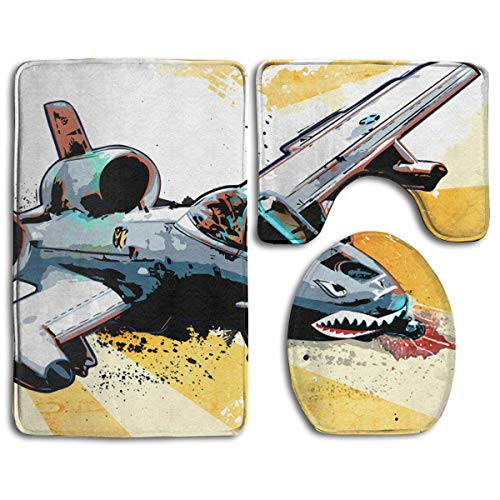 (HappyToiletLidCoverX Fighter Jet Shark Painting Non Slip Large Home Bathroom Rugs Doormats,Soft Toilet Rug U-Shaped Mat,Premium Round Toilet Lid Cover 3 Pieces Set )