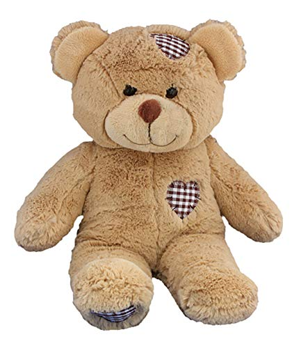 Stuffems Toy Shop Record Your Own Plush 16 inch Brown Patches Teddy Bear - Ready to Love in A Few Easy Steps ()