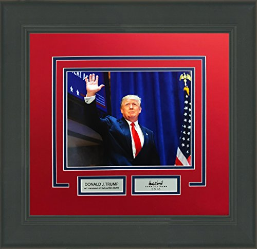 (Framed Donald Trump 8x10 Photo Professionally Matted Laser Engraved Autograph 45th President #2)