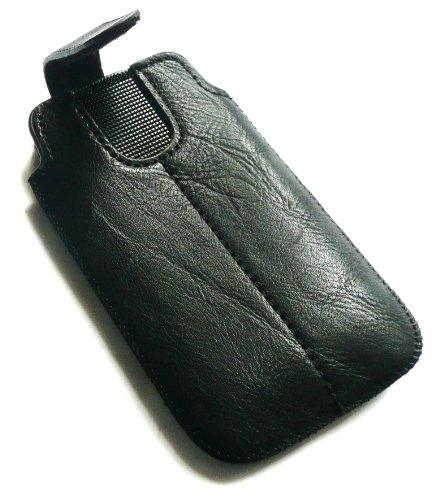 Emartbuy® Stylus Pack Para LG Optimus L7 II P710 Negro Pu Cuero Slide Asegurado Por Bolsa / Caja / Manga / Titular (Tamaño Xxl) Con Mecanismo Pull Tab + Metallic Mini Negro Stylus + Protector De Panta