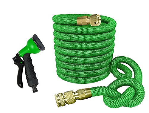 GrowGreen Garden Hose 100 Feet Expandable Hose with All Brass Connectors, 8 Pattern Spray Nozzle and High Pressure, Expanding Garden -