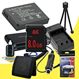 LI-50B Lithium Ion Replacement Battery w/Charger + 8GB SDHC Memory Card + Memory Card Reader/Wallet + Deluxe Starter Kit for Olympus Stylus Tough 6000, Tough 6010, Tough 6020, Tough 8000, Tough TG-610, Tough TG-810, Stylus 1010, 1020, 1030 SW, 8010, 9000,