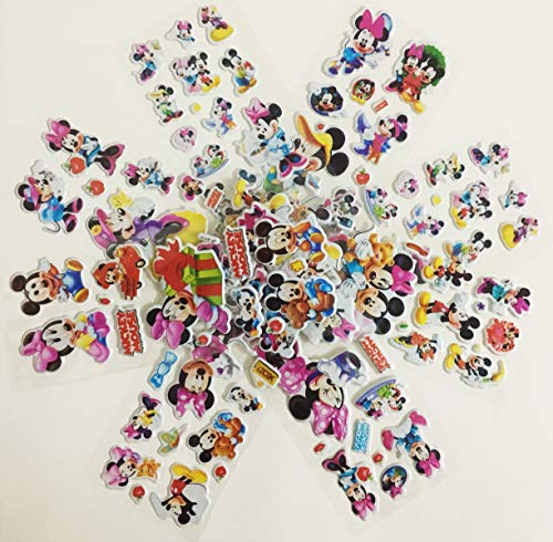 Chaoiwah Mickey Mouse Stickers 3D 6 Sheets and 2 More Free Sheet Sticker 8 Sheets per Pack-Mickey Mouse