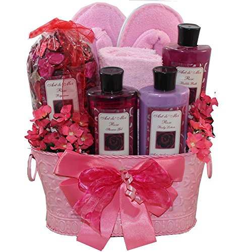 Art of Appreciation Gift Baskets Perfectly Pampered Pink Rose Spa Bath and Body Gift Set