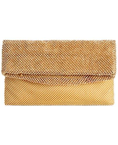 sondra-roberts-beaded-mesh-foldover-gold-clutch