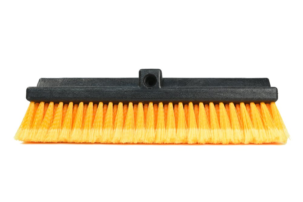 CARCAREZ 15'' Flow-Thru Bi-Level Car Wash Brush Head Fits for RV Cleaning with Feather-Tip Bristles Orange