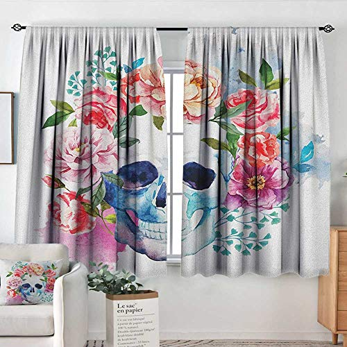 Blackout curtains 2 panels Skull,Funny Skull with Colorful Floral Head Victorian Style Dead Skeleton Graphic Art Print, Multicolor,Rod Pocket Curtain Panels for Bedroom & Kitchen 42