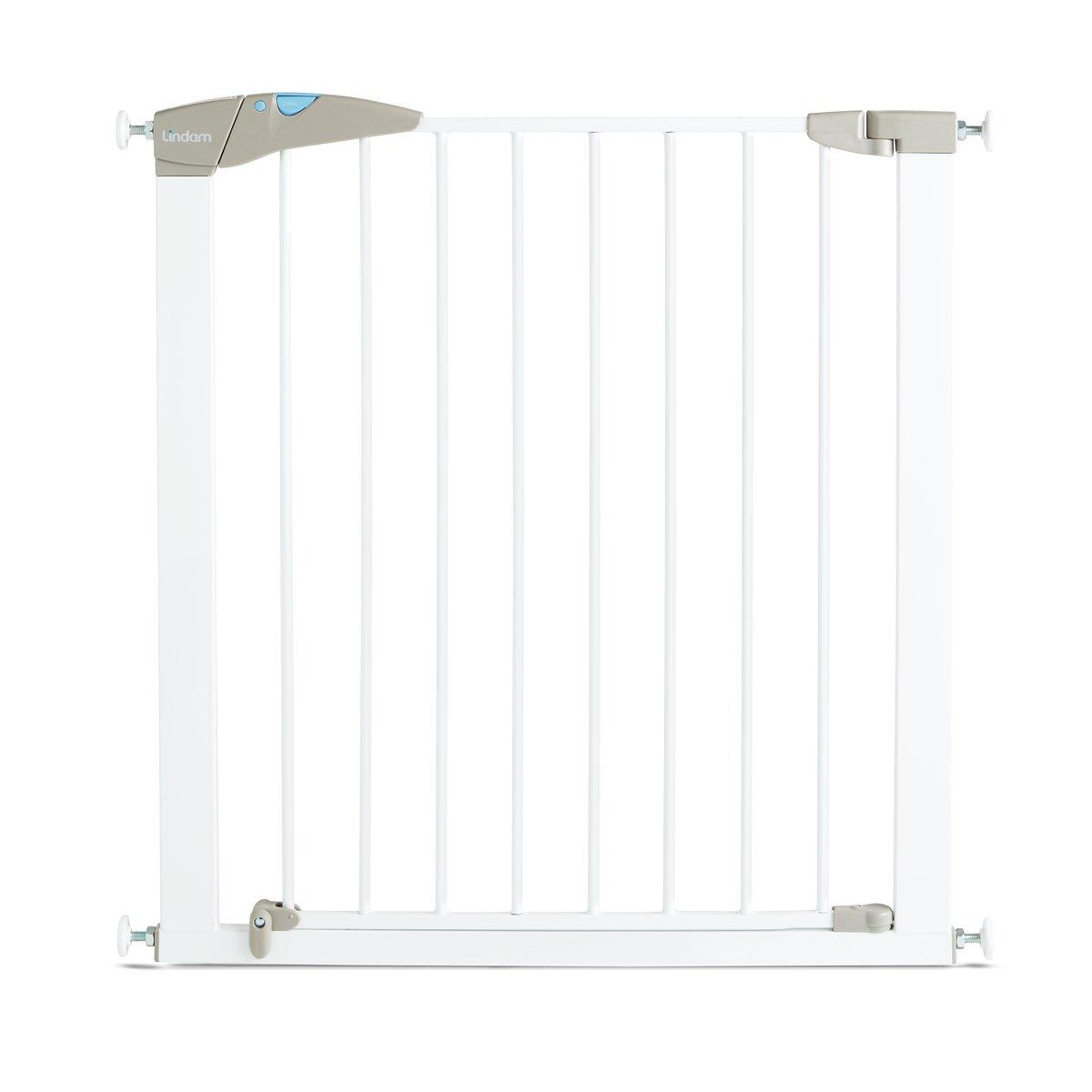 Lindam Barrera blanca de seguridad con puerta y ajuste a presión. 76-82 cm
