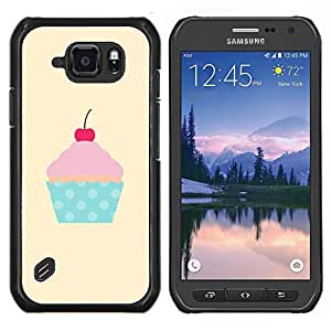EJOOY---Cubierta de la caja de protección para la piel dura ** Samsung Galaxy S6Active Active G890A ** --cereza polca amarilla magdalena punto rosa