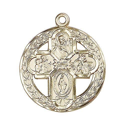 14kt Gold 4-Way Medal. Includes deluxe flip-top gift box. Medal/Pendant measures 1 1/8