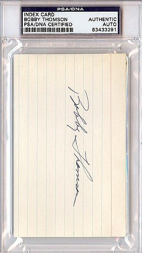 (Bobby Thomson Signed 3x5 Index Trading Card - Certified Genuine Autograph By PSA/DNA - Autographed MLB Baseball Cut Signatures)