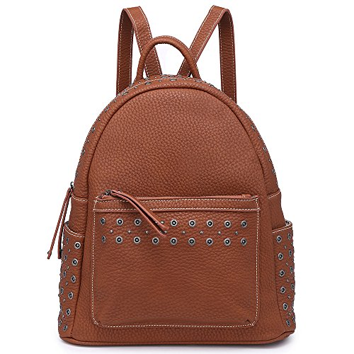 Women Backpack Purse Shoulder Handbag Roomy Functional for Laptop Stylish Stud Rivet (Studs Brown)