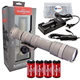 SureFire M600DF Scout 1500 Lumen Tactical Weaponlight Bundle with 4 Extra CR123A Batteries and Lightjunction Battery Box (Tan)