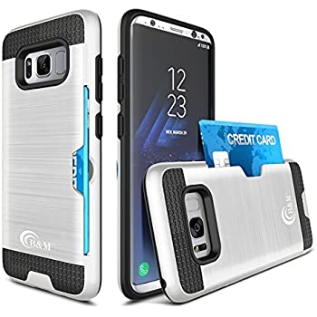Galaxy S8 Case By B&M Pro [FREE Gift 2 in 1] Now You Can Leave Your Wallet At Home – Dual Layer Slim Shock Absorbent Armor Hybrid Defender Protective Cover Case With Card Slot Holder (Silver)