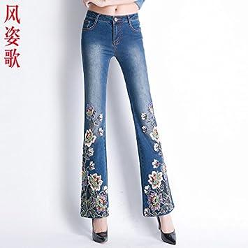 XiaoGao Mujer de Lujo con Flores Bordadas, Pantalones ...