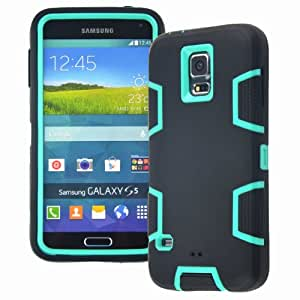 MagicSky Robot Series Hybrid Armored Case for Samsung Galaxy S5 SV - 1 Pack - Retail Packaging - Aqua/Black