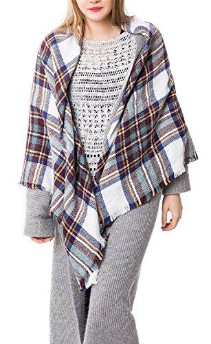 Zando Women's Stylish Warm Blanket Tartan Plaid Big Scarf Blanket Wrap Shawl White Blue (Snow White Outfit Ideas)