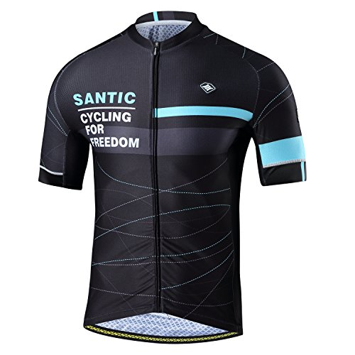 Santic Cycling Jerseys Men's Short Sleeve Full Zip Bike Jersey with Pockets Blue M