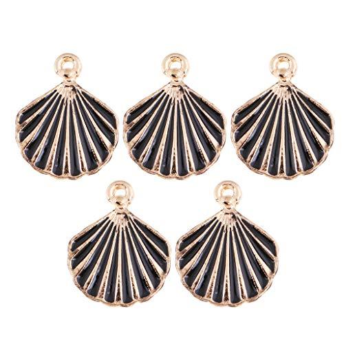 NATFUR 5 PCS/Lot Alloy Chain Pendant Small Scallop Shape Pendant Hair Pendant DIY Elegant Pretty Novelty Holder Perfect for Gift Elegant Pretty Novelty   Color - Black